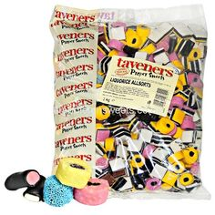 Taveners Liquorice Allsorts are made by Tangerine.These are an old traditional sweet with a great taste and with a mixture of liquorices and fondants in different shapes and colours. Liquorice Sweets, Liquorice Allsorts, Pontefract Cakes, Old Fashioned Sweets, Peanut Bar, Rhubarb And Custard, Ice Cake, Red Fruit, New Flavour