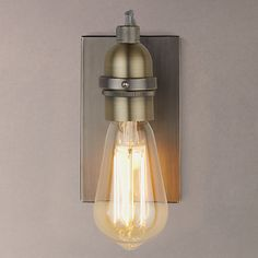 Buy John Lewis & Partners Bistro Bulb Wall Light, Antique Brass from our Wall Lighting range at John Lewis & Partners. Free Delivery on orders over Wall Lights, Lighting Collections, Cool Lighting, Ceiling Lights, Bulb, Ceiling Pendant Lights, Wall, Brass Lighting, Brass Wall Light