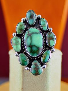 Damale Turquoise Cluster Ring by Will Denetdale, Navajo