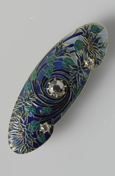 Lalique 1904-06 Cornflower Brooch: gold/ diamonds/ enamel