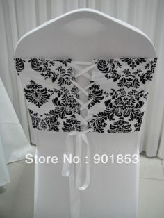 black and white flocking taffeta chair cover sash also call elegance damask corset chair sash,double side satin ribbon US $68.00 Wedding Events, Our Wedding, Wedding Ideas, Dream Wedding, Chair Back Covers, Chair Backs, Cheap Ribbon, Damask Wedding, Chair Sashes