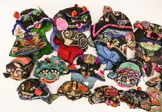 For Auction: Chinese Cent. Animal Silk Children's Hats ( on Dec 2019 Chinese Calendar, Dec 12, Embroidered Hats, Animal Heads, Native Art, Seattle, Auction, China, Antiques