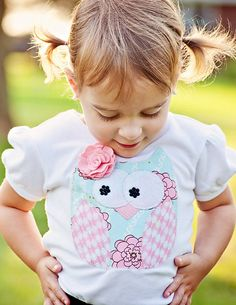Fun Applique Whimsical Owl Tee T-Shirt Infant Toddler Girls