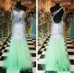 Real Sample Long Evening Dress 2014 Sleeveless Open Back Sequin Mermaid Prom Dress One Shoulder Oganza Formal Evening Dresses $143.00