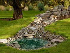 pond below hilltop(rock garden idea)