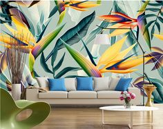 Cheap landscape wallpaper, Buy Quality wallpaper directly from China restaurant wallpaper Suppliers: Southeast Asia Tropical Landscape Wallpaper Stereo Pastoral Color Leaves Photo Mural Bedroom Theme Hotel Restaurant Wallpaper Garden Bedroom, Photo Mural, Tropical Wallpaper, Cleaning Walls, Tropical Landscaping, Landscape Wallpaper, Traditional Wallpaper, Photo Wallpaper, Bedroom Wallpaper