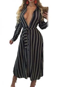 6998222e8a Dreszdi 2017 Autumn Winter Long Sleeve Women Stripe Maxi Dress Long Fashion  Sexy Deep V Neck Shirt Dresses
