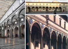 Filippo Brunelleschi. L'hôpital des Innocents, 1419-1424, Florence. // Elévation de la nef de l'église San Lorenzo (1421-1425), Florence.