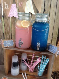 He or She, what will it be? Great drink station idea for any gender reveal party. Team pink or team blue? He or She, what will it be? Great drink station idea for any gender reveal party. Team pink or team blue? Gender Reveal Party Games, Gender Reveal Themes, Gender Reveal Party Decorations, Baby Reveal Ideas, Unique Gender Reveal Ideas, Twin Gender Reveal, Gender Party Ideas, Gender Reveal Volcano, Basketball Gender Reveal