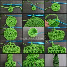 Festive Bottle Cozy - A Free Crochet Pattern Festive Bottle Cozy Tutorial by The Purple Poncho Crochet Mug Cozy, Crochet Poncho, Crochet Gifts, Crochet Stitches, Free Crochet, Crochet Shell Stitch, Crochet Designs, Crochet Patterns, Crochet Jar Covers