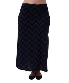 This Black & Royal Chevron Band-Waist Maxi Skirt - Plus is perfect…