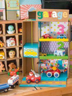Cardboard Garage with elevator