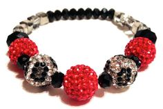 Stretch Pave Crystal Bracelet Red & Cheetah by IKANDiiAccessories, $35.00