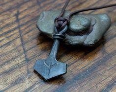 Custom Rune engraved forged Iron Thors Hammer, a Mjolnir pendant ...