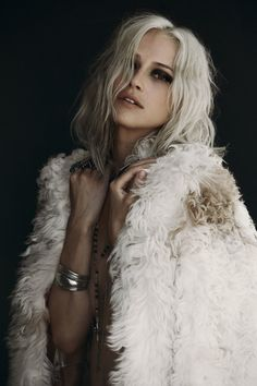 Platinum long bob #Hair in faux fur coat