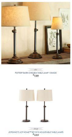 PotteryBarn Chelsea TableLamp + Shade $139 - vs - JCPenney JCP Home Adjustable Table Lamp (set of 2) $120