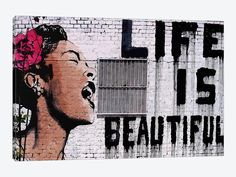Life Is Beautiful by Banksy 1-piece Canvas Art