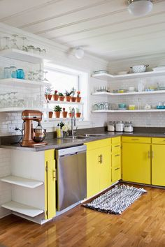 Paint Colors—Trim/Ultra White by Valspar, Walls/Paramount White by Valspar, Yellow/Golden Meadow by Valspar. Barn Door/Rustica Hardware. Let me know if I've missed anything! Kitchen Tour (via A Beautiful Mess)