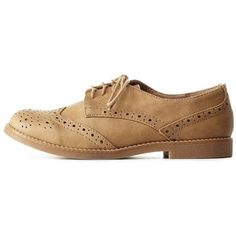 Charlotte Russe Camel Lace-Up Brogue Oxfords by Charlotte Russe at Charlotte Russe