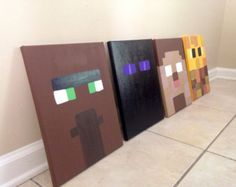 Hand painted Video Game Wall Art. Set of 2