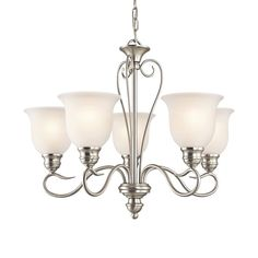 Kichler Lighting Tanglewood 24-in 5-Light Brushed Nickel Vintage Etched Glass Shaded Chandelier