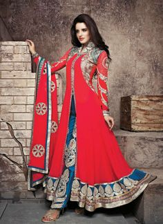 Red and blue georgette Indian salwar kameez from New India Fashion