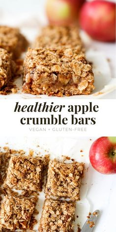 These healthier apple crumble bars are an easy treat that will give you all the fall feelings. They're made with healthy ingredients and vegan + gluten-free, so the whole gang can enjoy them! #applecrumblebars #applebars #applecrumble #applecrisp #vegan #glutenfree #healthydessert #healthybaking #fallbaking Healthy Vegan Desserts, Healthy Sweet Treats, Healthy Baking, Easy Desserts, Healthy Eats, Dairy Free Appetizers, Dairy Free Snacks, Tea Time Snacks, Baking Recipes