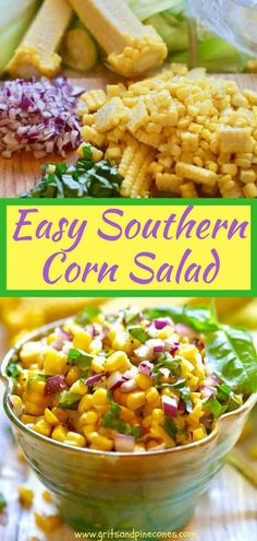 Easy Southern Corn Salad only takes minutes to make and, because it's made without mayonnaise, it's fresh, light and healthy. Coming in at only 155 calories per serving, this yummy corn salad is also full of vitamins and minerals. It's perfect to take to a potluck or to serve at a backyard barbecue or picnic.  via @gritspinecones