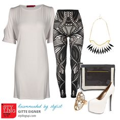 Here's an outfit based on a pair of monochrome leggings and an oversized tee. Styled by Gitte Eigner.