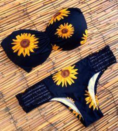 Sunflower Print Bandeau Bikini Sets