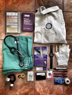 "34thandnow: Everyday Carry: Med School Edition -Whitecoat Clipboard Silver -Mass. General Pocket Medicine 5th ed. By Marc Sabatine M.D. -Littman Classic II SE Stethoscope -Cherokee Surgical Green Scrubs -Master the Wards: Internal Med by Conrad Fisher M.D. -Red Kap Medical Student White Coat -Luminox 0215.SL Sentry watch -Curad 3G Vinyl gloves -3M 1"" Surgical Tape -BD Vacutainer Safety-Lok 23G -Surgi-Lube -Orbit Peppermint Gum -Cole Haan Slim Card Wallet -Burt's Bees Lip Balm -Hospital ID…"