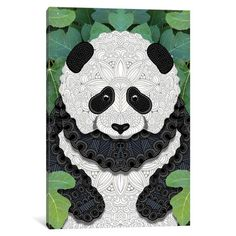 "Bungalow Rose Little Panda Graphic Art on Wrapped Canvas Size: 18"" H x 12"" W x 1.5"" D"