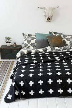 Pia Wallen Cross Throw Blanket - Was going to make a quilt in like this . perhaps, buy the blanket? Black And White Quilts, Black Bed Linen, Home Bedroom, Bedroom Decor, Bedrooms, Bedroom Ideas, Bedroom Stuff, Bedroom Inspiration, Master Bedroom