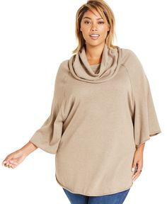Style&co. Plus Size Cowl-Neck Poncho Top, Only at Macy's