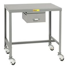Mobile Work Table, 48 L x 24 W x 18 In. H by Little Giant. $528.48. Mobile Work Table, Load Capacity 500 lb., Overall Length 48 In., Overall Width 24 In., Overall Height 18 In., Caster Type (2) Swivel, (2) Braking, Caster Material Hard Rubber Swivel, Caster Size 3 In.Number of Drawers 1, Drawer Width 13 In., Drawer Height 5 In., Drawer Depth 15 In., Drawer Load Rating 50 lb., Material Steel, Gauge 12, Color Gray, Powder Coat Finish, Includes (1) Storage Drawer, ...