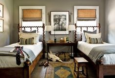 like the wall color, trim, idea of no curtains just bamboo shades (there will be one full size bed - no twin beds) -gray bedroom: Benjamin Moore 'Rockport Gray' - http://www.houzz.com/photos/372387/Young-Gentlemans-Bedroom-2010-traditional-bedroom-atlanta