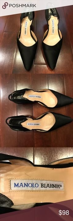 Manolo Blahnik Carolyne Slingback Pump Kitten Heel Carolyne Black slingback pump.  Made in Italy.  Has wear throughout (fraying to outside material, wear to inside).  Rubber has been added to the bottom of the front sole.    Size is 38.5 which is equivalent to an 8.5. Manolo Blahnik Shoes Heels