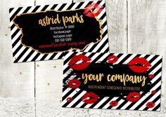 Lipsense Business Card template black stripes gold red lips