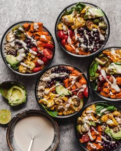 Roasted Vegetable Quinoa Buddha Bowls - Meal Prep - HANNAH CHIA - This nourish-bowl style, prep-ahead meal is easy to make and packed with veggies and protein. Roasted Vegetables, Veggies, Veggie Buddha Bowl, Vegetable Quinoa, Roasted Vegetable Salad, Veggie Quinoa Bowl, Vegetable Meals, Vegetarian Recipes, Healthy Recipes