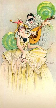 """Photo from album """"Gaspar Camps"""" on Yandex. Art Vintage, Vintage Circus, Pierrot Clown, Image Halloween, Paper Dolls Clothing, But Is It Art, Christmas Embroidery Patterns, Art Deco Illustration, Image Nature"""