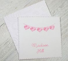 Pink Heart Banner Personalized Enclosure Cards - Gift Cards - Calling Cards - Set of 24 - Girl - Trend - Flat - One sided - Embossed edge