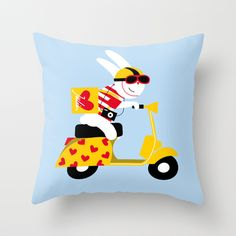 Scooter Rabbit in Europe Throw Pillow by Julien Chung   Society6