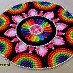 Easy Rangoli Patterns, Easy Rangoli Designs Diwali, Rangoli Designs Latest, Simple Rangoli Designs Images, Rangoli Designs Flower, Rangoli Colours, Rangoli Ideas, Rangoli Designs With Dots, Beautiful Rangoli Designs