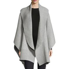 Burberry Ruffle Collar Poncho (26 725 UAH) ❤ liked on Polyvore featuring outerwear, grey poncho, wrap poncho, style poncho, sleeved poncho and gray poncho