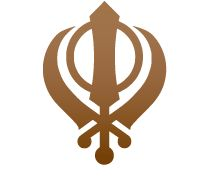 The special Sikh religous symbol is made up of three images: The Khanda, which is a double edged sword. This represents the belief in one God. The Chakkar, like the Kara it is a circle representing God without beginning or end and reminding Sikhs to remain within the rule of God. Two crossed kirpans representing spiritual authority and political power.