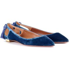 Aquazzura Forever Marilyn Velvet Ballerinas ($560) ❤ liked on Polyvore featuring shoes, flats, blue, ballerina flats, blue ballet flats, ballet shoes, velvet flats and blue ballet shoes