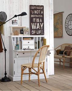 It's says garden chair, but for me this is going inside. Albertine Rattan chair from La Redoute (affiliate). Large Drawers, Desk With Drawers, Betta, Pine Desk, Ladder Desk, Light Oak, Garden Chairs, Solid Pine, Decoration
