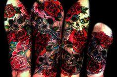 Candy Skull & Roses Tattoo
