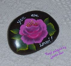 Hand painted Rock - Idaho River Rock-Paper Weight-Pink Rose-You are Loved-Valentine