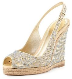 "Rene Caovilla Crystal Wedge Espadrille Sandal, Gold - Rene Caovilla satin wedge sandal with allover crystal upper. 4.5"" wedge heel; 0.8"" platform; 3.7"" equiv. Peep toe. Adjustable slingback strap. Metallic leather lining and footbed. Jute midsole; rubber outsole. Made in Italy."